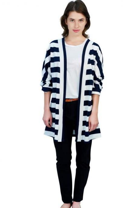 Women Cotton Cardian Coat Loose Navy Blue Stripe Thin Outwear